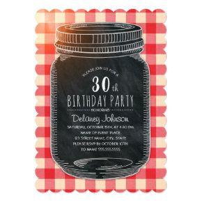 Rustic Mason Jar Picnic 30th Birthday Party Invitation