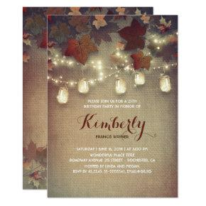 Rustic Mason Jars Lights Fall Birthday Party Invitations