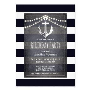 Rustic Men's Nautical Birthday Party Invitation