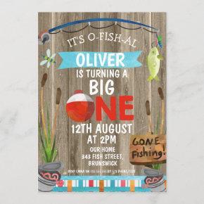 Rustic O-Fish-Al First Birthday Party Invitation