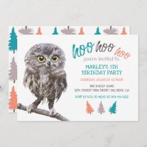 Rustic Owl Forest Kids Birthday Party Invitation