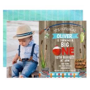 Rustic Photo O-Fish-Ally One Birthday Invitation