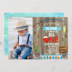 Rustic Photo O-Fish-Ally One Birthday Invitation