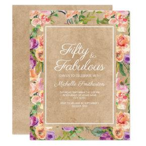 Rustic Pink Purple Floral Kraft 50th Birthday Invitation