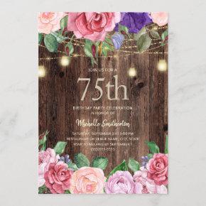 Rustic Pink Purple Flowers String Lights 75th Invitation