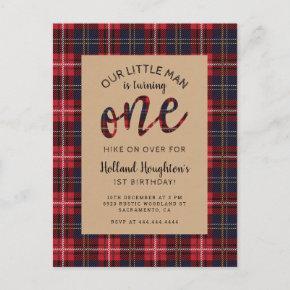 Rustic Plaid Little Man Lumberjack 1st Birthday Invitation Post