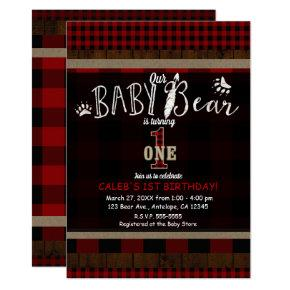 Rustic Plaid Red Baby Bear One 1st Birthday Party Invitation