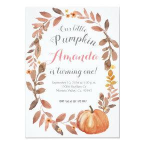 Rustic Pumpkin Autumn Fall Birthday Party Invitation