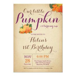 Rustic Pumpkin Birthday Invitation First Bday