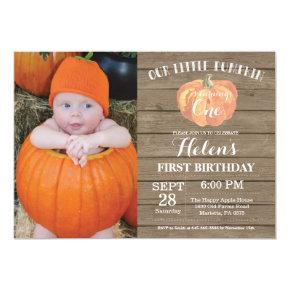 Rustic Pumpkin First Birthday Invitations