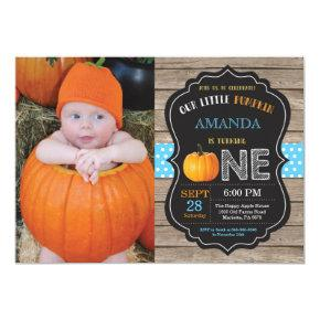 Rustic Pumpkin First Birthday Invitations Blue