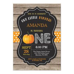 Rustic Pumpkin First Birthday Invitations Orange