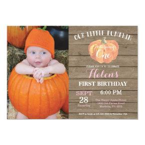 Rustic Pumpkin First Birthday Invitations Pink