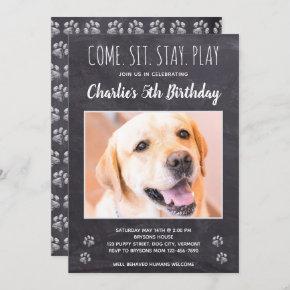 Rustic Puppy Dog Birthday Party Photo Invitation