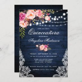 Rustic Quinceanera Blue Wood Lights Pink Floral Invitation
