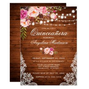 Rustic Quinceanera Wood Lights Lace Pink Floral Invitation