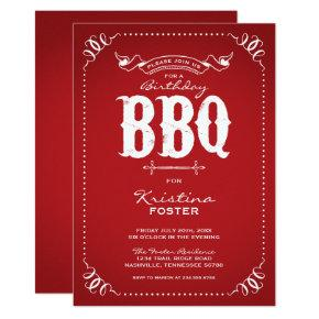 Rustic Red Birthday Party BBQ Invitation