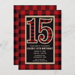 Rustic Red Black Buffalo Plaid 15th 15 Birthday Invitation