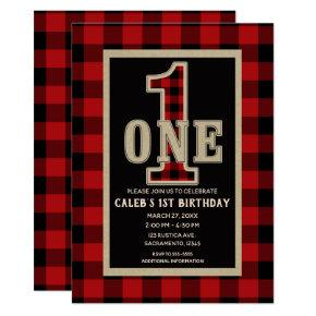 Rustic Red Black Buffalo Plaid 1st Birthday Party Invitations