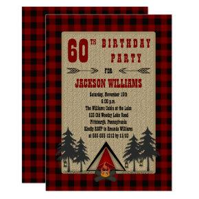 Rustic Red Buffalo Checks Camping Birthday Party Invitations