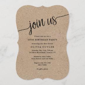 Rustic Script Kraft Join Us Any Occasion Invitation
