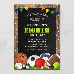Rustic Sports Themed Kids Birthday Party Invitation