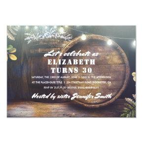 Rustic String Lights and Oak Barrel Birthday Party Invitation