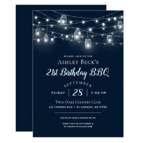 Rustic String Lights Birthday Party BBQ Invitation
