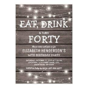 Rustic String Lights Forty Birthday Party | 40th Invitations