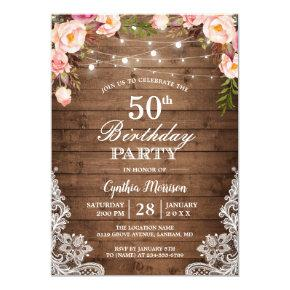 Rustic String Lights Lace Floral Birthday Party Invitations