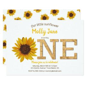 Rustic Sunflower 1st Birthday Girl Watercolor Invitation