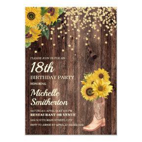 Rustic Sunflower Boots Glitter 18th Birthday Invitation