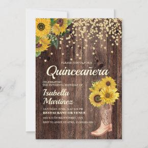 Rustic Sunflower Boots Glitter Quinceañera 15th Invitation
