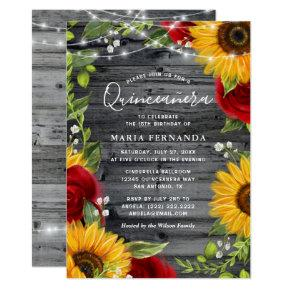 Rustic Sunflower Burgundy Rose Wood Quinceanera Invitation