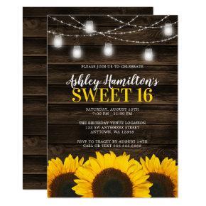 Rustic Sunflower Mason Jar Lights Sweet 16 Invitation