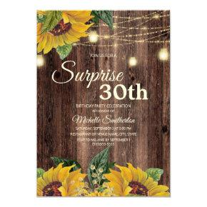 Rustic Sunflower String Light Surprise 30th Invitation