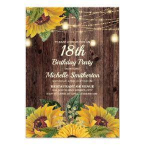 Rustic Sunflower String Lights 18th Birthday Invitation