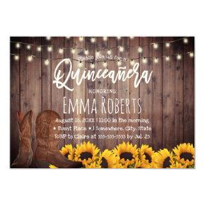 Rustic Sunflowers Cowgirl Quinceanera Birthday Invitation