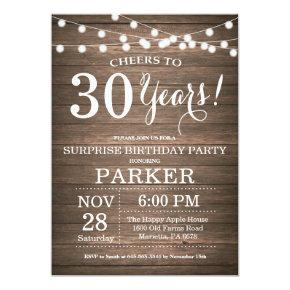 Rustic Surprise 30th Birthday Invitation Wood