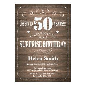 Rustic Surprise 50th Birthday Invitation