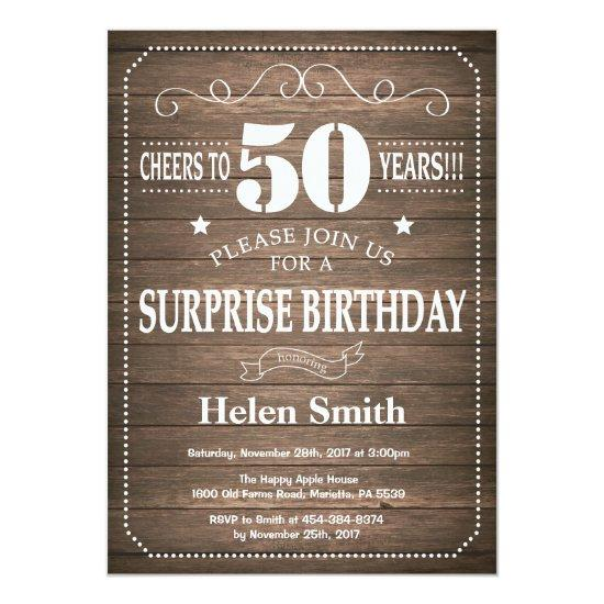 Rustic Surprise 50th Birthday Invitation