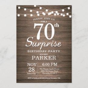 Rustic Surprise 70th Birthday Invitation Wood