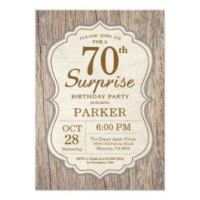 Rustic Surprise 70th Birthday Invitations Wood