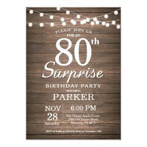 Rustic Surprise 80th Birthday Invitations Wood