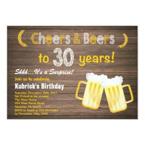 Rustic Surprise Cheers and Beers 30th Birthday Invitation