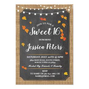 Rustic Sweet 16 Party Fall Chalk Lights Invite
