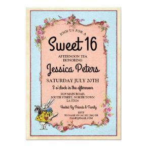 Rustic Sweet 16 Party Wonderland Rabbit Tea Invite