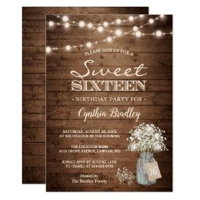 Rustic Sweet Sixteen Baby's Breath String Lights Invitations