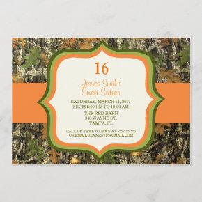 Rustic Sweet Sixteen Camo Birthday Invitation
