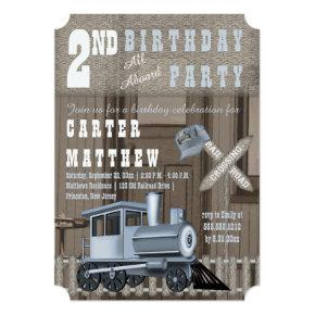 Rustic Train Railroad Crossing 2nd Birthday Party Invitation